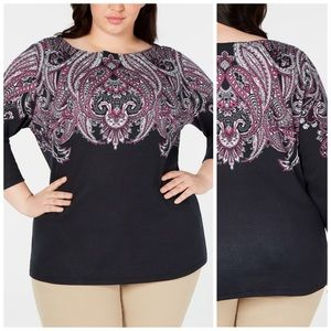 Black & Pink Printed 3/4 Sleeve Boatneck Top 0X